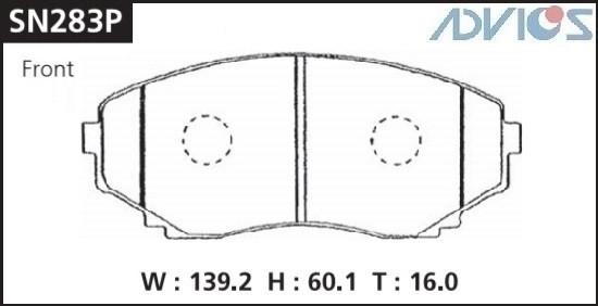Дисковые тормозные колодки ADVICS SN283P SN283P купить в Абакане