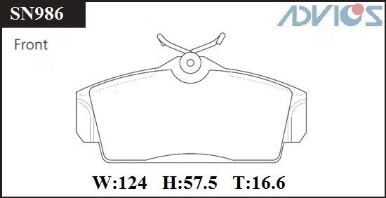Дисковые тормозные колодки ADVICS SN986 SN986 купить в Абакане
