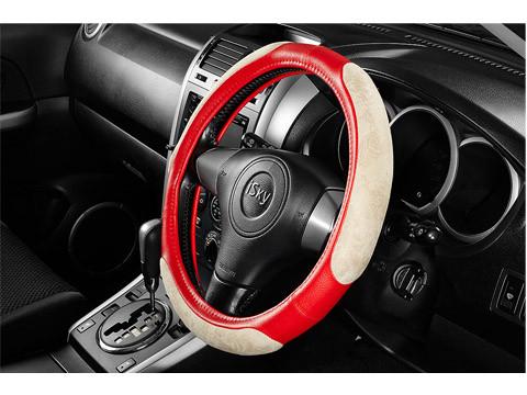 Чехол на руль iSky с тканевыми вставками, женский дизайн, кожзам, размер S, красн. iSW-16SRD купить в Абакане