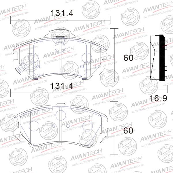 Колодки тормозные дисковые Avantech (противоскрипная пластина в компл.) - AV118 AV118 купить в Абакане