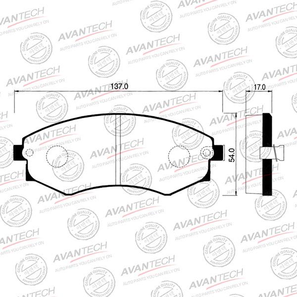 Колодки тормозные дисковые Avantech (противоскрипная пластина в компл.) - AV710 AV710 купить в Абакане