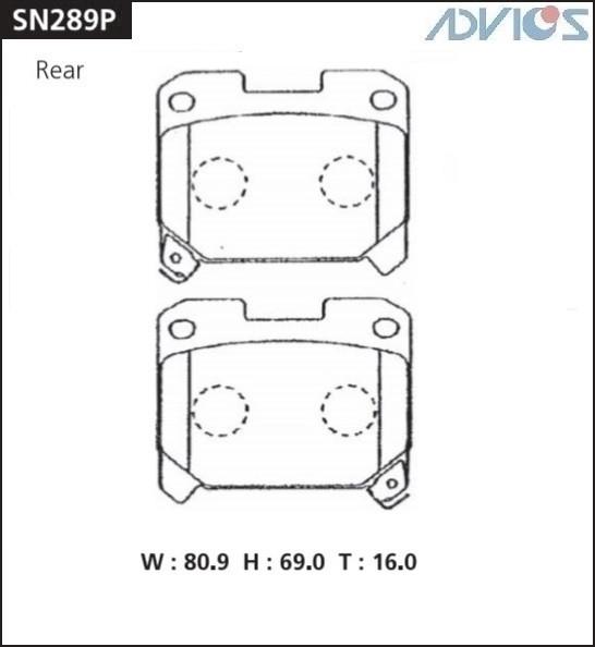 Дисковые тормозные колодки ADVICS SN289P SN289P купить в Абакане