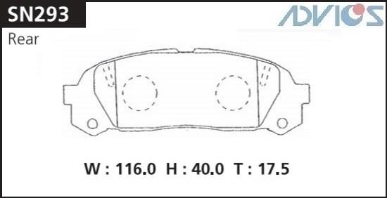 Дисковые тормозные колодки ADVICS SN293 SN293 купить в Абакане