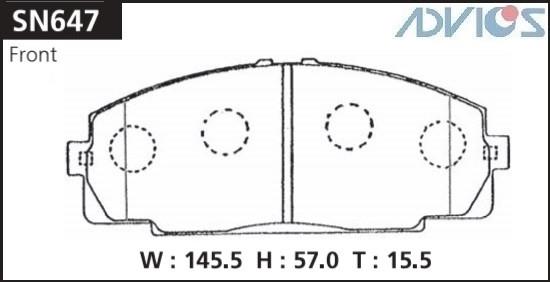 Дисковые тормозные колодки ADVICS SN647 SN647 купить в Абакане