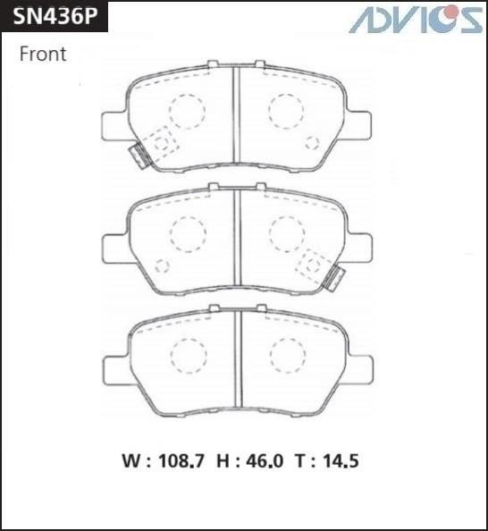 Дисковые тормозные колодки ADVICS SN436P SN436P купить в Абакане