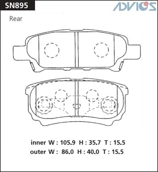 Дисковые тормозные колодки ADVICS SN895 SN895 купить в Абакане