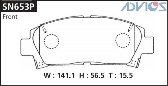 Дисковые тормозные колодки ADVICS SN653P SN653P купить в Абакане