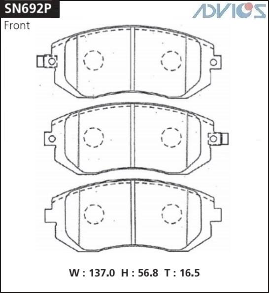 Дисковые тормозные колодки ADVICS SN692P SN692P купить в Абакане