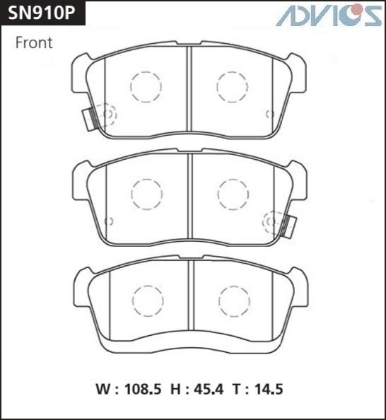 Дисковые тормозные колодки ADVICS SN910P SN910P купить в Абакане