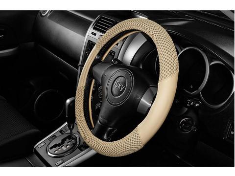 Чехол на руль iSky гладкий с тканевыми вставками, кожзам, размер S, беж. iSW-14SBE купить в Абакане