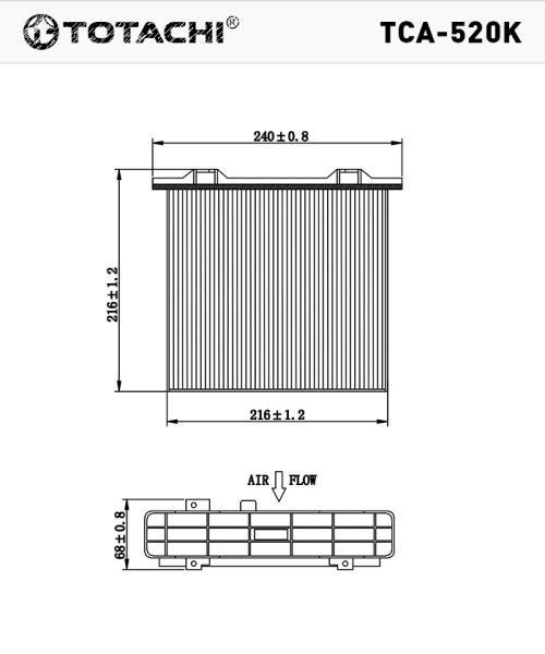 Фильтр салона, угольный TOTACHI TCA-520K XR500058D CUK2230 TCA-520K купить в Абакане