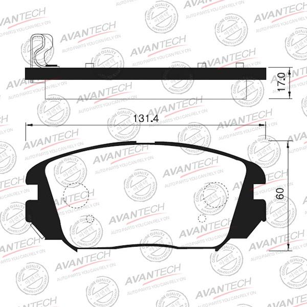Колодки тормозные дисковые Avantech (противоскрипная пластина в компл.) - AV145 AV145 купить в Абакане