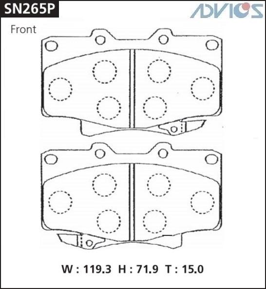 Дисковые тормозные колодки ADVICS SN265P SN265P купить в Абакане