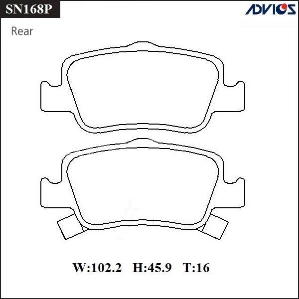 Дисковые тормозные колодки ADVICS SN168P SN168P купить в Абакане