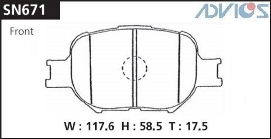 Дисковые тормозные колодки ADVICS SN671 SN671 купить в Абакане