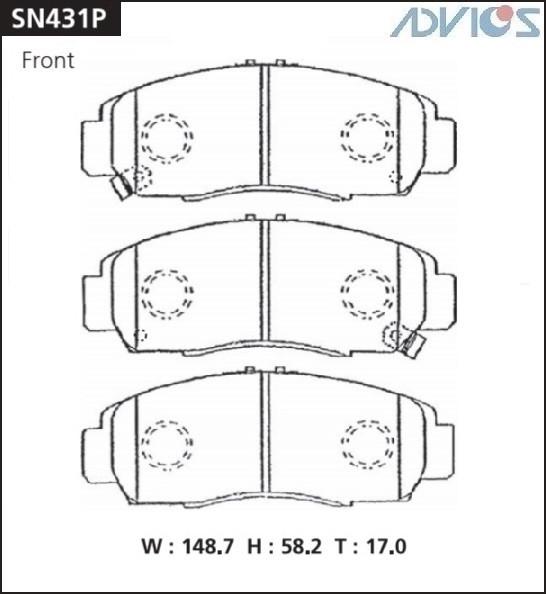 Дисковые тормозные колодки ADVICS SN431P SN431P купить в Абакане
