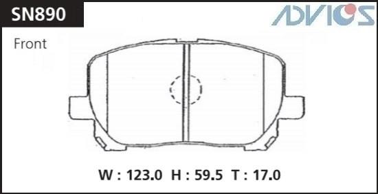 Дисковые тормозные колодки ADVICS SN890 SN890 купить в Абакане
