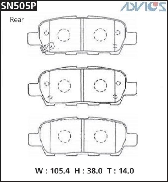 Дисковые тормозные колодки ADVICS SN505P SN505P купить в Абакане