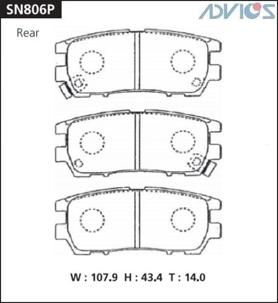 Дисковые тормозные колодки ADVICS SN806P SN806P купить в Абакане