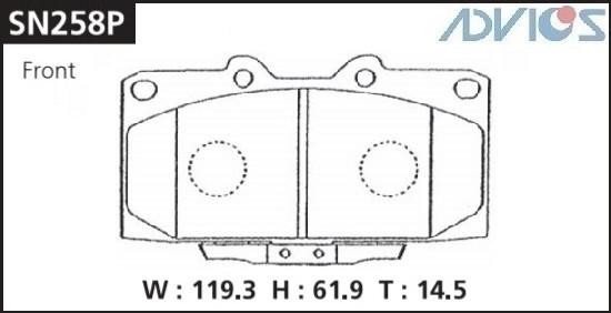 Дисковые тормозные колодки ADVICS SN258P SN258P купить в Абакане