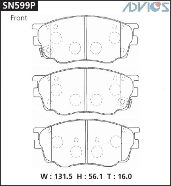 Дисковые тормозные колодки ADVICS SN599P SN599P купить в Абакане
