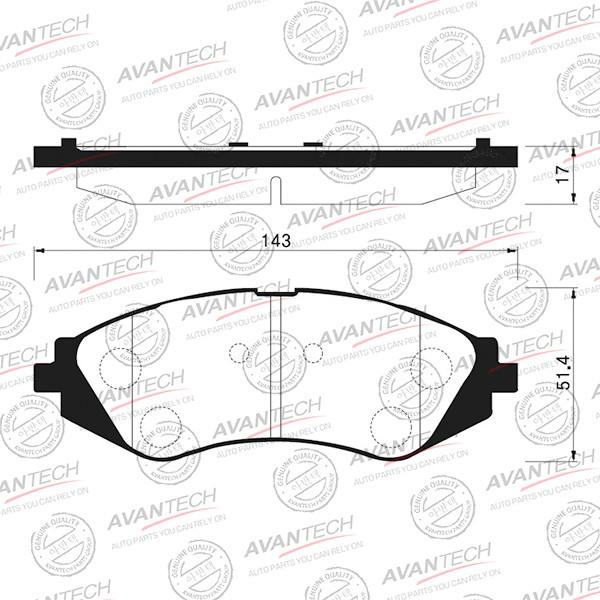 Колодки тормозные дисковые Avantech (противоскрипная пластина в компл.) - AV122 AV122 купить в Абакане
