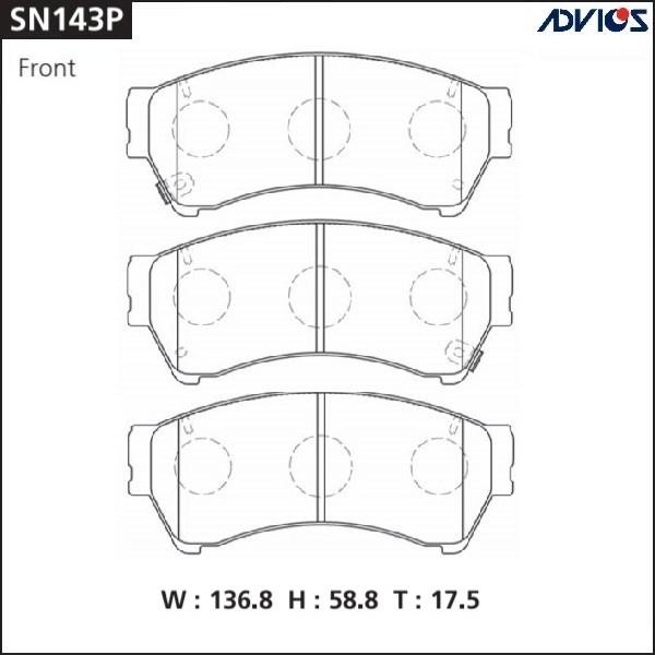 Дисковые тормозные колодки ADVICS SN143P SN143P купить в Абакане