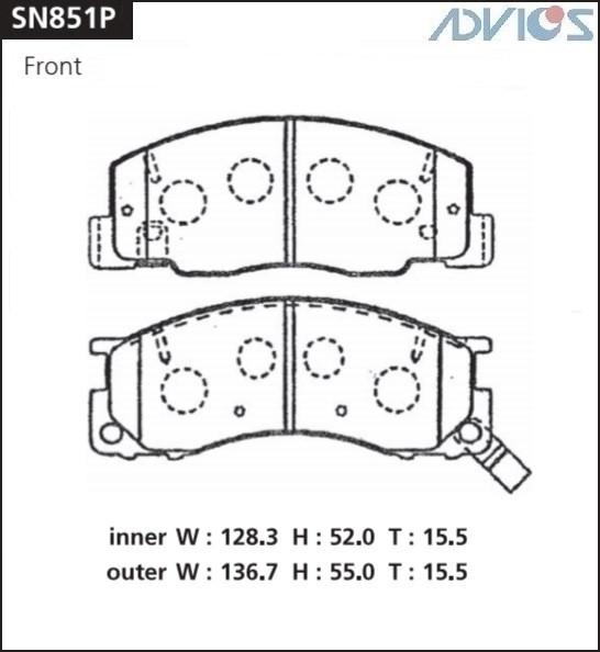 Дисковые тормозные колодки ADVICS SN851P SN851P купить в Абакане