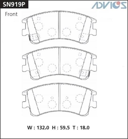 Дисковые тормозные колодки ADVICS SN919P SN919P купить в Абакане
