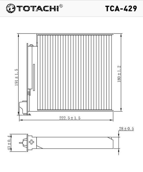 Фильтр салона TOTACHI TCA-429 77 01 062 227 CU 1829 TCA-429 купить в Абакане
