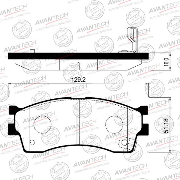 Колодки тормозные дисковые Avantech (противоскрипная пластина в компл.) - AV076 AV076 купить в Абакане