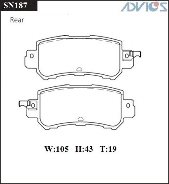 Дисковые тормозные колодки ADVICS SN187 SN187 купить в Абакане