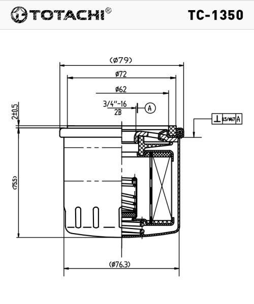 Масляный фильтр TOTACHI TC-1350 7S7G-6714-AA W7008 TC-1350 купить в Абакане