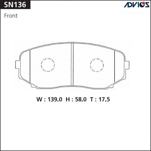 Дисковые тормозные колодки ADVICS SN136 SN136 купить в Абакане