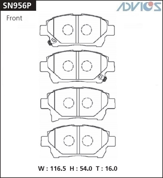 Дисковые тормозные колодки ADVICS SN956P SN956P купить в Абакане