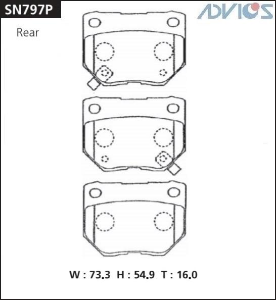 Дисковые тормозные колодки ADVICS SN797P SN797P купить в Абакане