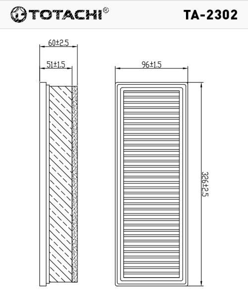 Воздушный фильтр TOTACHI TA-2302 16 54 694 66R C 33 006 TA-2302 купить в Абакане