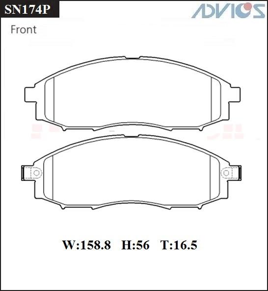 Дисковые тормозные колодки ADVICS SN174P SN174P купить в Абакане