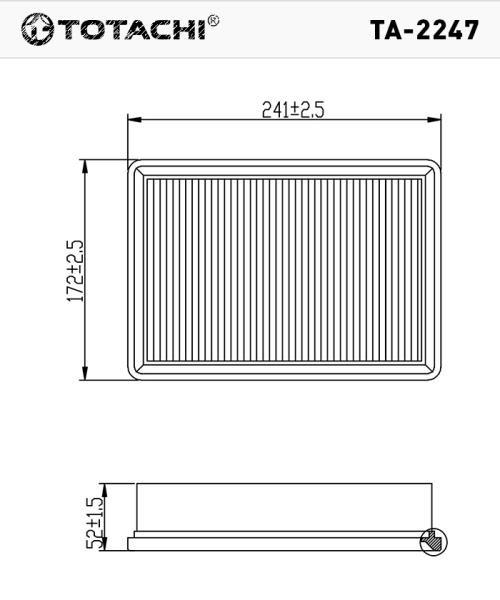 Воздушный фильтр TOTACHI TA-2247 96950990 C24028 TA-2247 купить в Абакане