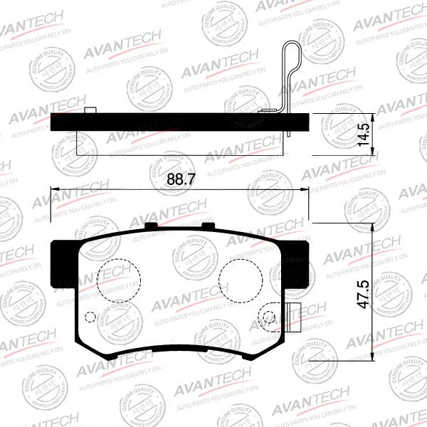 Колодки тормозные дисковые Avantech (противоскрипная пластина в компл.) - AV569 AV569 купить в Абакане