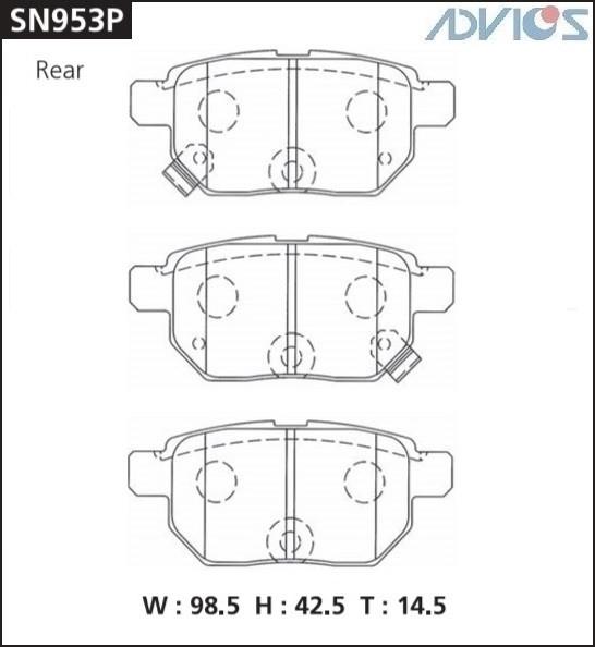 Дисковые тормозные колодки ADVICS SN953P SN953P купить в Абакане
