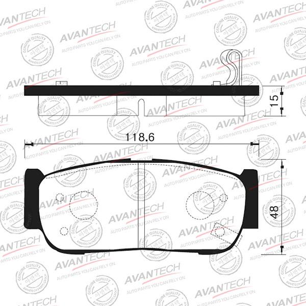 Колодки тормозные дисковые Avantech (противоскрипная пластина в компл.) - AV141 AV141 купить в Абакане