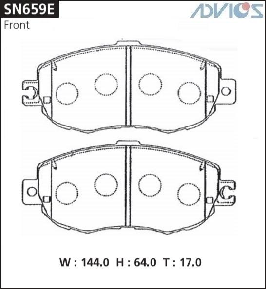 Дисковые тормозные колодки ADVICS SN659E SN659E купить в Абакане