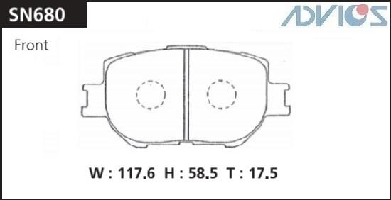 Дисковые тормозные колодки ADVICS SN680 SN680 купить в Абакане