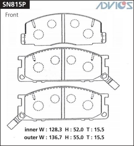 Дисковые тормозные колодки ADVICS SN815P SN815P купить в Абакане