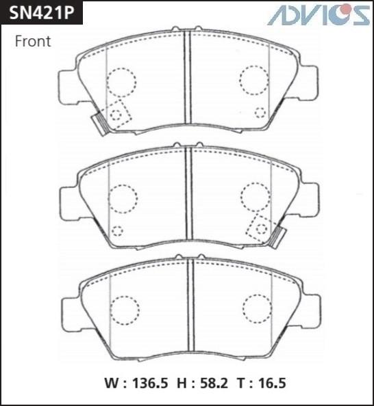 Дисковые тормозные колодки ADVICS SN421P SN421P купить в Абакане