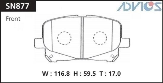 Дисковые тормозные колодки ADVICS SN877 SN877 купить в Абакане