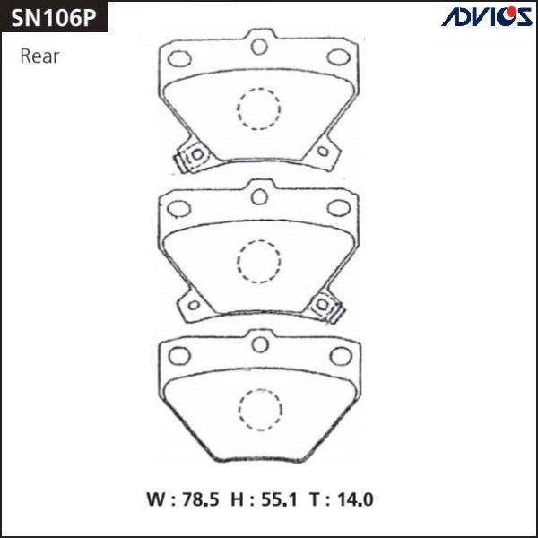 Дисковые тормозные колодки ADVICS SN106P SN106P купить в Абакане