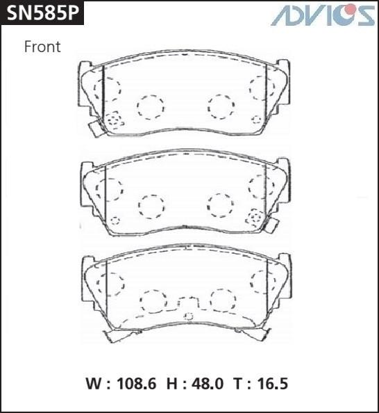 Дисковые тормозные колодки ADVICS SN585P SN585P купить в Абакане