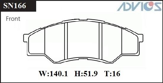 Дисковые тормозные колодки ADVICS SN166 SN166 купить в Абакане